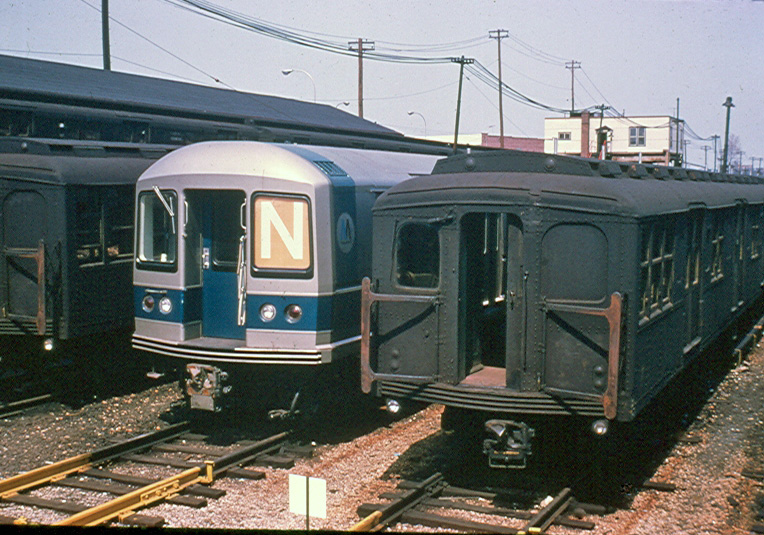 (237k, 764x535)<br><b>Country:</b> United States<br><b>City:</b> New York<br><b>System:</b> New York City Transit<br><b>Location:</b> Rockaway Parkway (Canarsie) Yard<br><b>Car:</b> R-40M (St. Louis, 1969)  4303 <br><b>Photo by:</b> Brian J. Cudahy<br><b>Date:</b> 4/9/1969<br><b>Viewed (this week/total):</b> 1 / 722