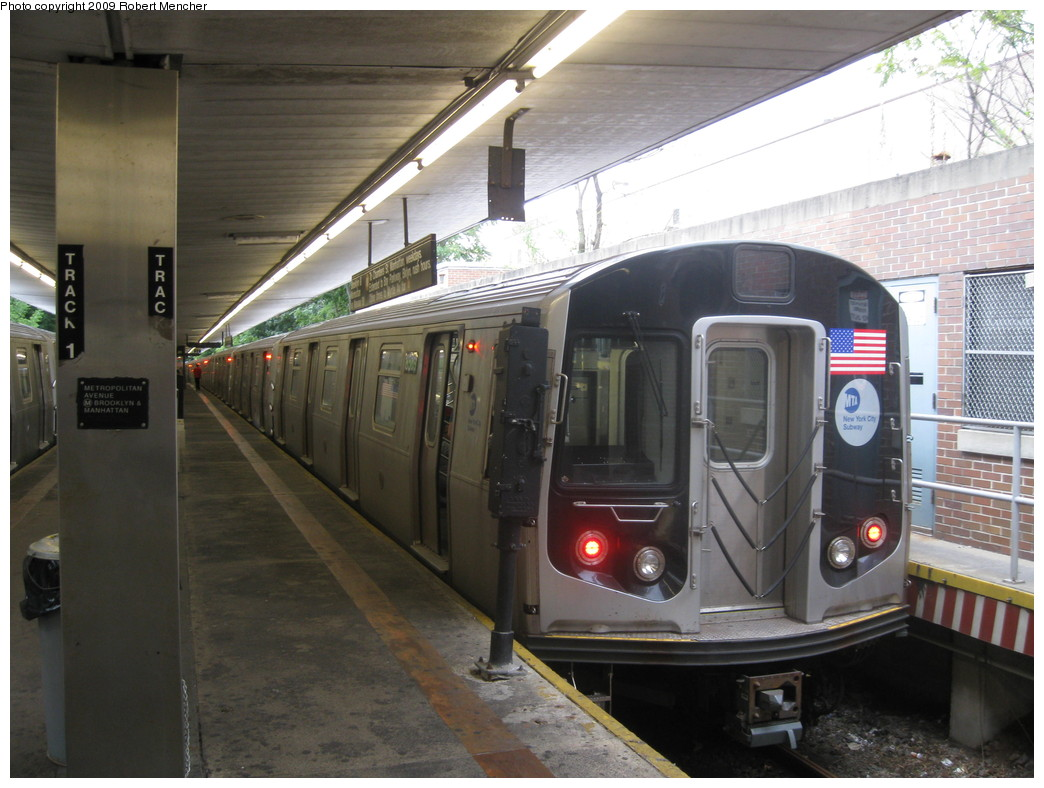 (211k, 1044x788)<br><b>Country:</b> United States<br><b>City:</b> New York<br><b>System:</b> New York City Transit<br><b>Line:</b> BMT Myrtle Avenue Line<br><b>Location:</b> Metropolitan Avenue <br><b>Route:</b> M<br><b>Car:</b> R-160A-1 (Alstom, 2005-2008, 4 car sets)  8569 <br><b>Photo by:</b> Robert Mencher<br><b>Date:</b> 9/6/2009<br><b>Viewed (this week/total):</b> 2 / 801