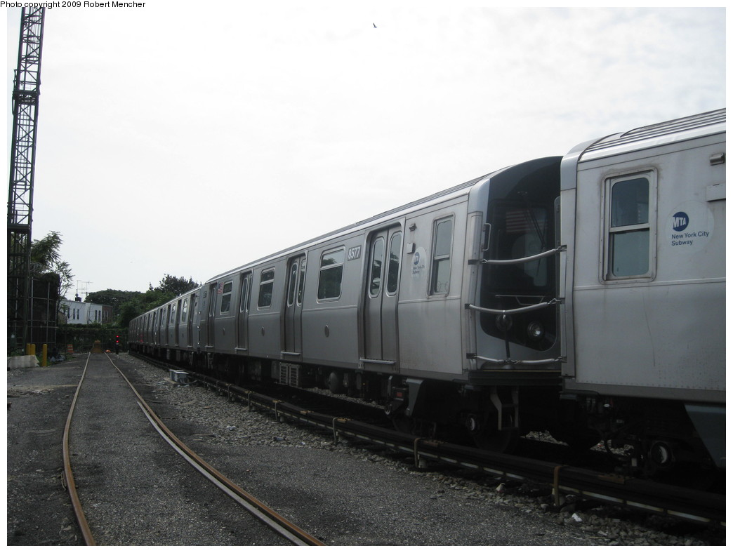(167k, 1044x788)<br><b>Country:</b> United States<br><b>City:</b> New York<br><b>System:</b> New York City Transit<br><b>Location:</b> Rockaway Parkway (Canarsie) Yard<br><b>Car:</b> R-160A-1 (Alstom, 2005-2008, 4 car sets)  8577 <br><b>Photo by:</b> Robert Mencher<br><b>Date:</b> 9/7/2009<br><b>Viewed (this week/total):</b> 0 / 461