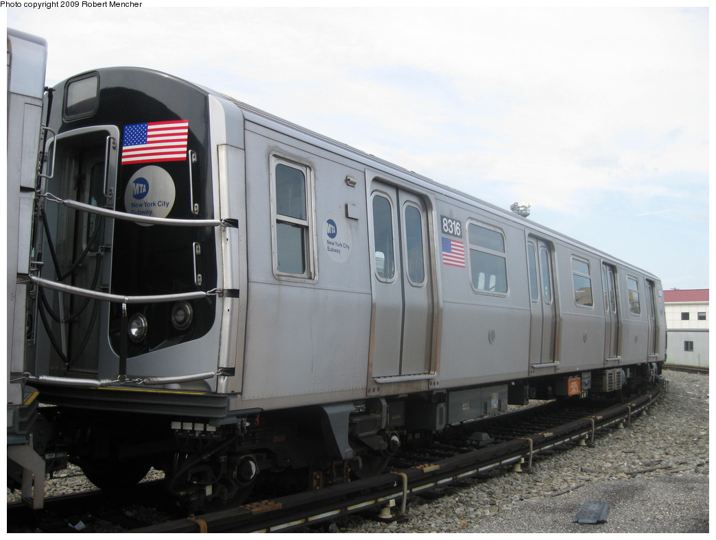 (172k, 1044x788)<br><b>Country:</b> United States<br><b>City:</b> New York<br><b>System:</b> New York City Transit<br><b>Location:</b> Rockaway Parkway (Canarsie) Yard<br><b>Car:</b> R-160A-1 (Alstom, 2005-2008, 4 car sets)  8316 <br><b>Photo by:</b> Robert Mencher<br><b>Date:</b> 9/7/2009<br><b>Viewed (this week/total):</b> 0 / 1022