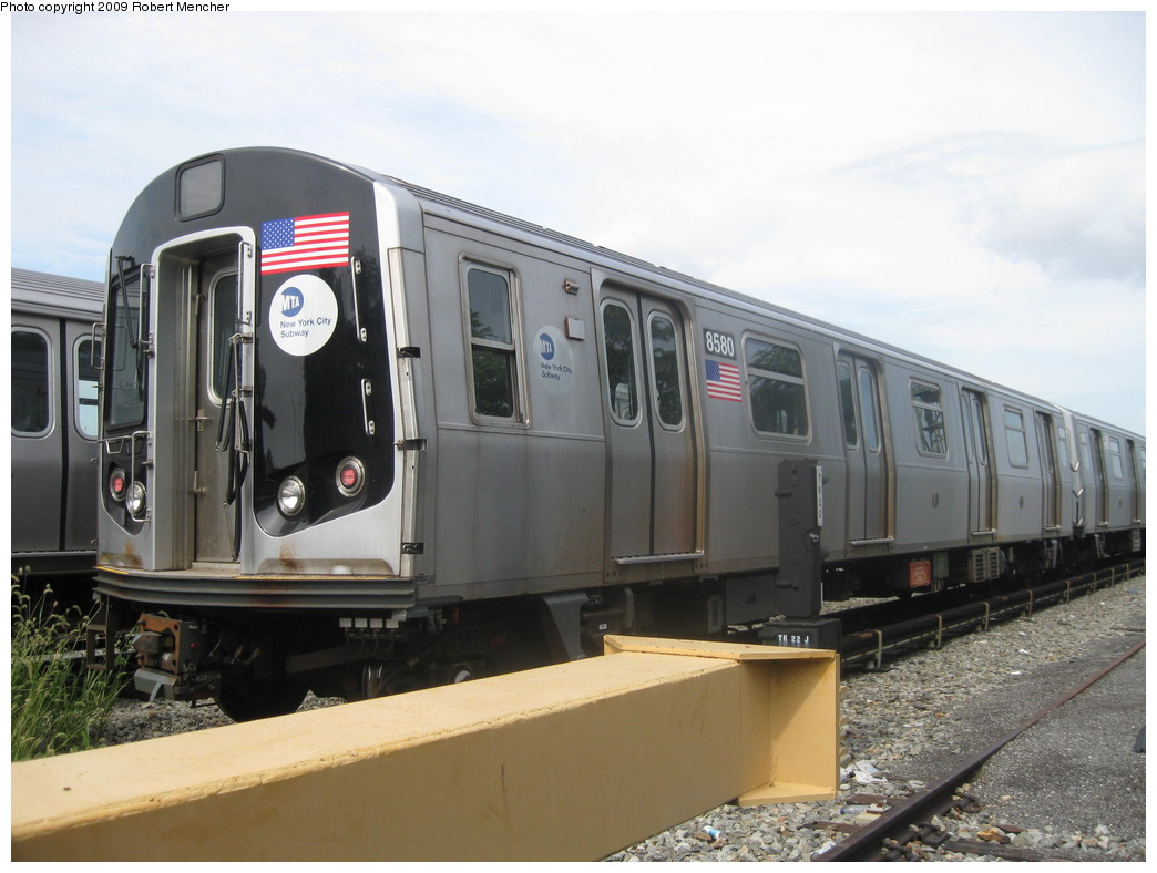 (185k, 1044x788)<br><b>Country:</b> United States<br><b>City:</b> New York<br><b>System:</b> New York City Transit<br><b>Location:</b> Rockaway Parkway (Canarsie) Yard<br><b>Car:</b> R-160A-1 (Alstom, 2005-2008, 4 car sets)  8580 <br><b>Photo by:</b> Robert Mencher<br><b>Date:</b> 9/7/2009<br><b>Viewed (this week/total):</b> 1 / 730
