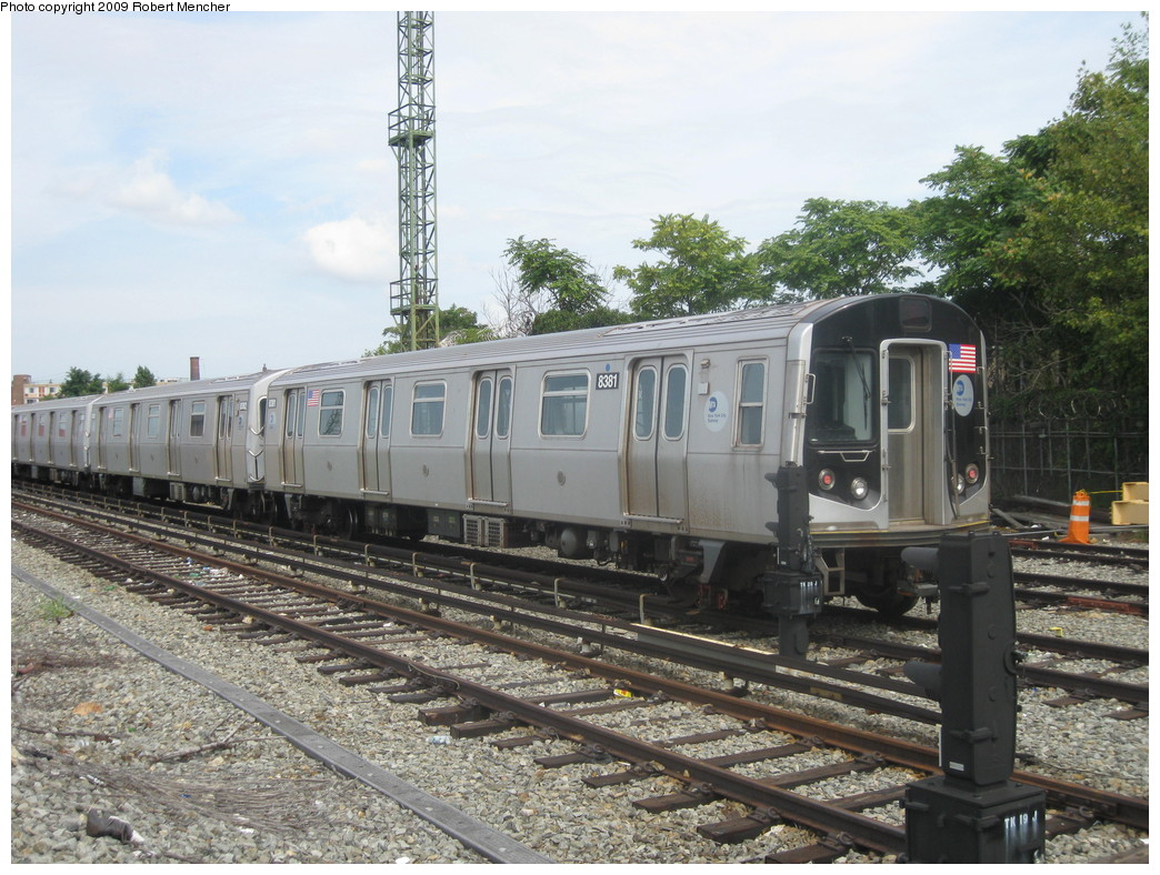 (259k, 1044x788)<br><b>Country:</b> United States<br><b>City:</b> New York<br><b>System:</b> New York City Transit<br><b>Location:</b> Rockaway Parkway (Canarsie) Yard<br><b>Car:</b> R-160A-1 (Alstom, 2005-2008, 4 car sets)  8381 <br><b>Photo by:</b> Robert Mencher<br><b>Date:</b> 9/7/2009<br><b>Viewed (this week/total):</b> 0 / 809