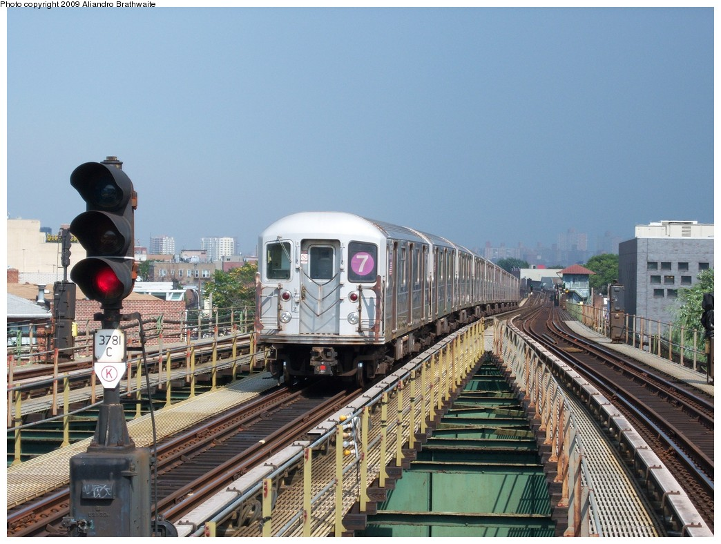 (256k, 1044x788)<br><b>Country:</b> United States<br><b>City:</b> New York<br><b>System:</b> New York City Transit<br><b>Line:</b> IRT Flushing Line<br><b>Location:</b> Junction Boulevard <br><b>Route:</b> 7<br><b>Car:</b> R-62A (Bombardier, 1984-1987)  1651 <br><b>Photo by:</b> Aliandro Brathwaite<br><b>Date:</b> 8/21/2009<br><b>Viewed (this week/total):</b> 1 / 715