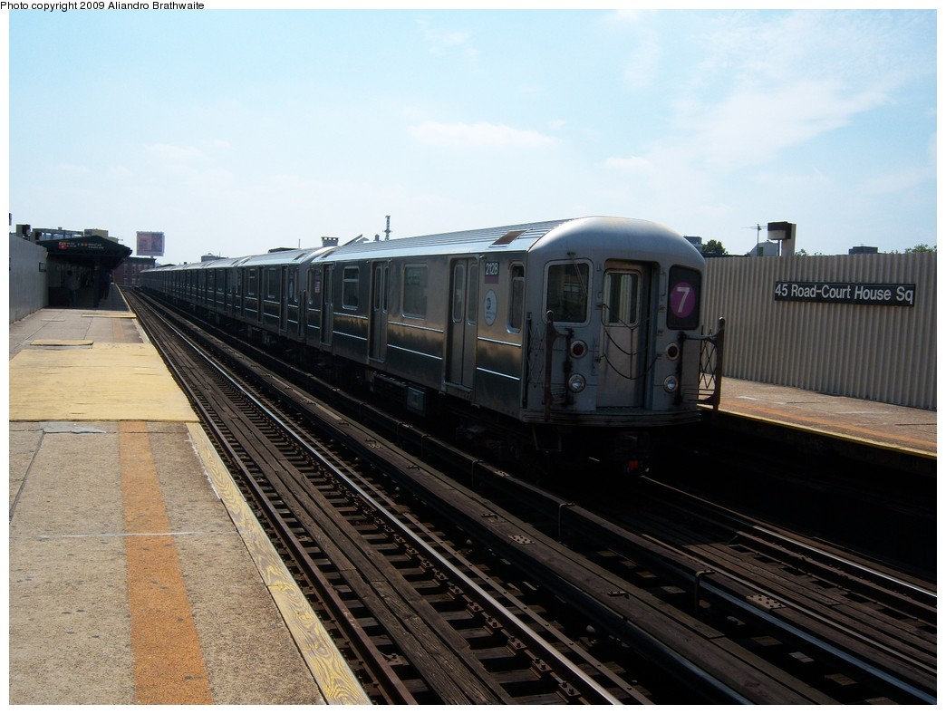 (213k, 1044x788)<br><b>Country:</b> United States<br><b>City:</b> New York<br><b>System:</b> New York City Transit<br><b>Line:</b> IRT Flushing Line<br><b>Location:</b> Court House Square/45th Road <br><b>Route:</b> 7<br><b>Car:</b> R-62A (Bombardier, 1984-1987)  2128 <br><b>Photo by:</b> Aliandro Brathwaite<br><b>Date:</b> 8/26/2009<br><b>Viewed (this week/total):</b> 3 / 313