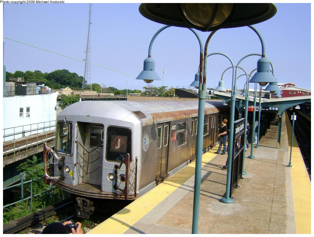 (246k, 1044x788)<br><b>Country:</b> United States<br><b>City:</b> New York<br><b>System:</b> New York City Transit<br><b>Line:</b> BMT Nassau Street/Jamaica Line<br><b>Location:</b> Broadway/East New York (Broadway Junction) <br><b>Route:</b> J<br><b>Car:</b> R-42 (St. Louis, 1969-1970)  4830 <br><b>Photo by:</b> Michael Hodurski<br><b>Date:</b> 8/25/2009<br><b>Viewed (this week/total):</b> 0 / 1123