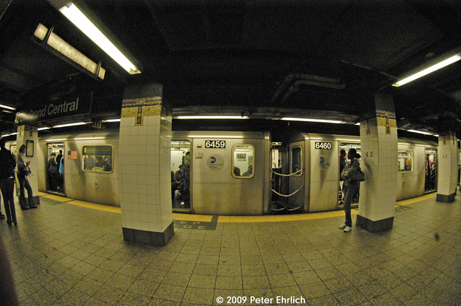 (244k, 930x618)<br><b>Country:</b> United States<br><b>City:</b> New York<br><b>System:</b> New York City Transit<br><b>Line:</b> IRT East Side Line<br><b>Location:</b> Grand Central <br><b>Car:</b> R-142 (Primary Order, Bombardier, 1999-2002)  6459 <br><b>Photo by:</b> Peter Ehrlich<br><b>Date:</b> 10/9/2009<br><b>Notes:</b> Coupled cars.  Fisheye view.<br><b>Viewed (this week/total):</b> 3 / 571
