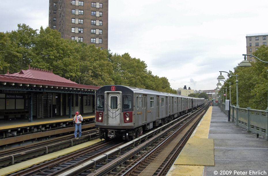 (224k, 930x611)<br><b>Country:</b> United States<br><b>City:</b> New York<br><b>System:</b> New York City Transit<br><b>Line:</b> IRT White Plains Road Line<br><b>Location:</b> Jackson Avenue <br><b>Route:</b> 2<br><b>Car:</b> R-142 (Primary Order, Bombardier, 1999-2002)  6665 <br><b>Photo by:</b> Peter Ehrlich<br><b>Date:</b> 10/9/2009<br><b>Notes:</b> Inbound.<br><b>Viewed (this week/total):</b> 4 / 936