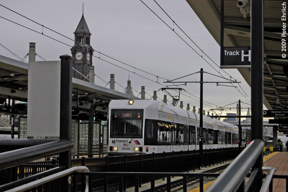 (194k, 930x618)<br><b>Country:</b> United States<br><b>City:</b> Hoboken, NJ<br><b>System:</b> Hudson Bergen Light Rail<br><b>Location:</b> Hoboken <br><b>Car:</b> NJT-HBLR LRV (Kinki-Sharyo, 1998-99)  2012 <br><b>Photo by:</b> Peter Ehrlich<br><b>Date:</b> 10/9/2009<br><b>Viewed (this week/total):</b> 0 / 140