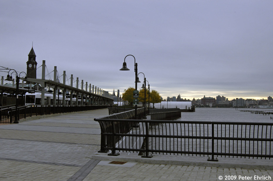 (158k, 930x618)<br><b>Country:</b> United States<br><b>City:</b> Hoboken, NJ<br><b>System:</b> Hudson Bergen Light Rail<br><b>Location:</b> Hoboken <br><b>Car:</b> NJT-HBLR LRV (Kinki-Sharyo, 1998-99)  2012 <br><b>Photo by:</b> Peter Ehrlich<br><b>Date:</b> 10/9/2009<br><b>Viewed (this week/total):</b> 0 / 92