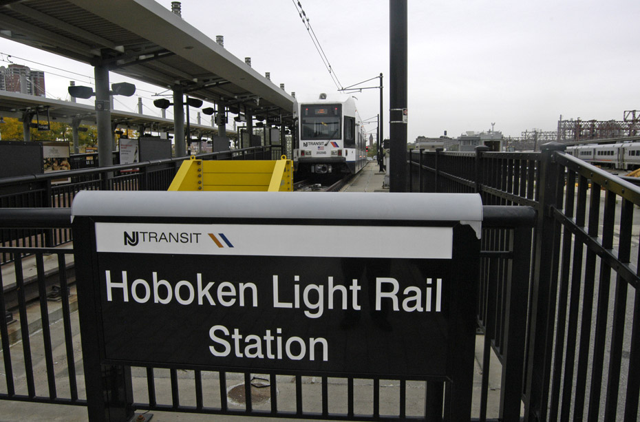 (185k, 930x613)<br><b>Country:</b> United States<br><b>City:</b> Hoboken, NJ<br><b>System:</b> Hudson Bergen Light Rail<br><b>Location:</b> Hoboken <br><b>Car:</b> NJT-HBLR LRV (Kinki-Sharyo, 1998-99)  2029 <br><b>Photo by:</b> Peter Ehrlich<br><b>Date:</b> 10/9/2009<br><b>Viewed (this week/total):</b> 2 / 99