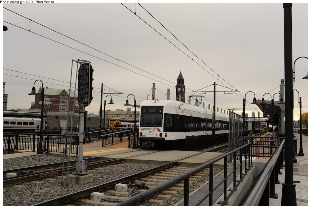 (175k, 1044x701)<br><b>Country:</b> United States<br><b>City:</b> Hoboken, NJ<br><b>System:</b> Hudson Bergen Light Rail<br><b>Location:</b> Hoboken <br><b>Car:</b> NJT-HBLR LRV (Kinki-Sharyo, 1998-99)  2012 <br><b>Photo by:</b> Richard Panse<br><b>Date:</b> 10/9/2009<br><b>Viewed (this week/total):</b> 3 / 106