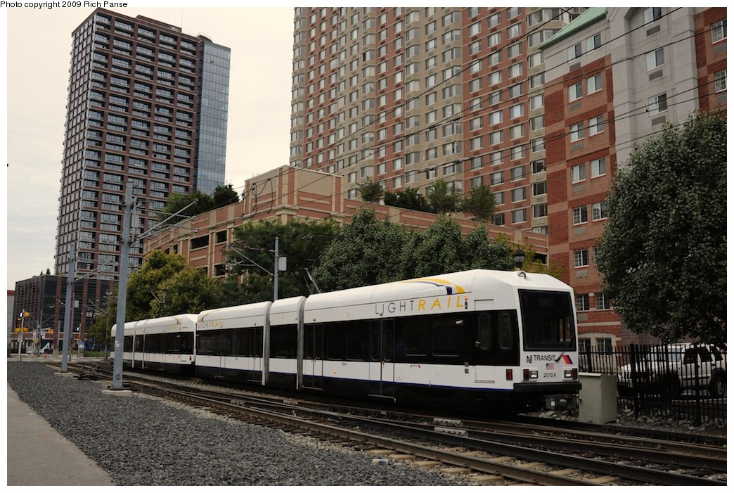 (252k, 1044x701)<br><b>Country:</b> United States<br><b>City:</b> Jersey City, NJ<br><b>System:</b> Hudson Bergen Light Rail<br><b>Location:</b> Harborside <br><b>Car:</b> NJT-HBLR LRV (Kinki-Sharyo, 1998-99)  2010 <br><b>Photo by:</b> Richard Panse<br><b>Date:</b> 10/9/2009<br><b>Viewed (this week/total):</b> 0 / 408