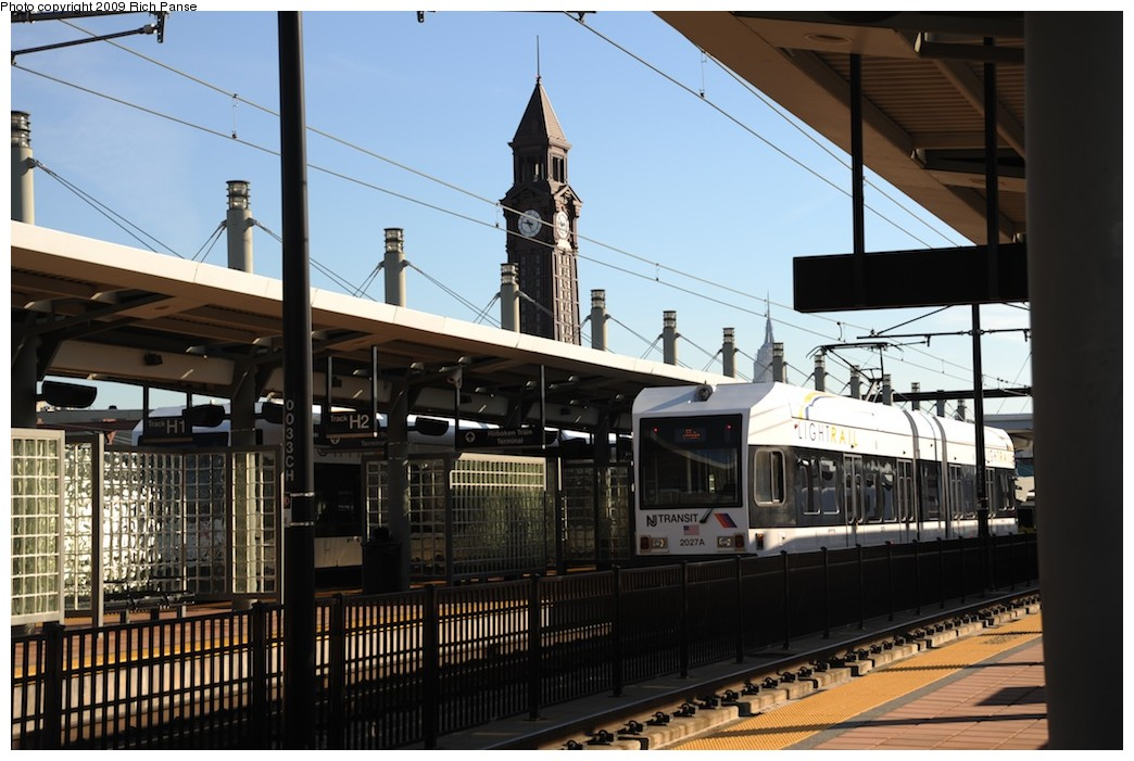 (182k, 1044x701)<br><b>Country:</b> United States<br><b>City:</b> Hoboken, NJ<br><b>System:</b> Hudson Bergen Light Rail<br><b>Location:</b> Hoboken <br><b>Car:</b> NJT-HBLR LRV (Kinki-Sharyo, 1998-99)  2027 <br><b>Photo by:</b> Richard Panse<br><b>Date:</b> 10/11/2009<br><b>Viewed (this week/total):</b> 0 / 115