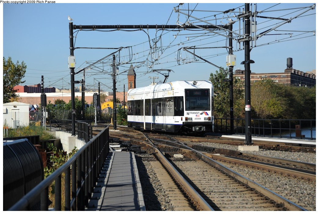 (230k, 1044x701)<br><b>Country:</b> United States<br><b>City:</b> Hoboken, NJ<br><b>System:</b> Hudson Bergen Light Rail<br><b>Location:</b> Hoboken <br><b>Car:</b> NJT-HBLR LRV (Kinki-Sharyo, 1998-99)  2008 <br><b>Photo by:</b> Richard Panse<br><b>Date:</b> 10/11/2009<br><b>Viewed (this week/total):</b> 0 / 154