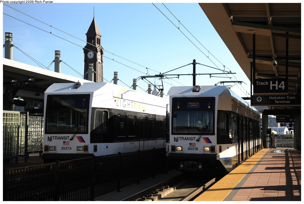 (163k, 1044x701)<br><b>Country:</b> United States<br><b>City:</b> Hoboken, NJ<br><b>System:</b> Hudson Bergen Light Rail<br><b>Location:</b> Hoboken <br><b>Car:</b> NJT-HBLR LRV (Kinki-Sharyo, 1998-99)  2027/2031 <br><b>Photo by:</b> Richard Panse<br><b>Date:</b> 10/11/2009<br><b>Viewed (this week/total):</b> 0 / 381