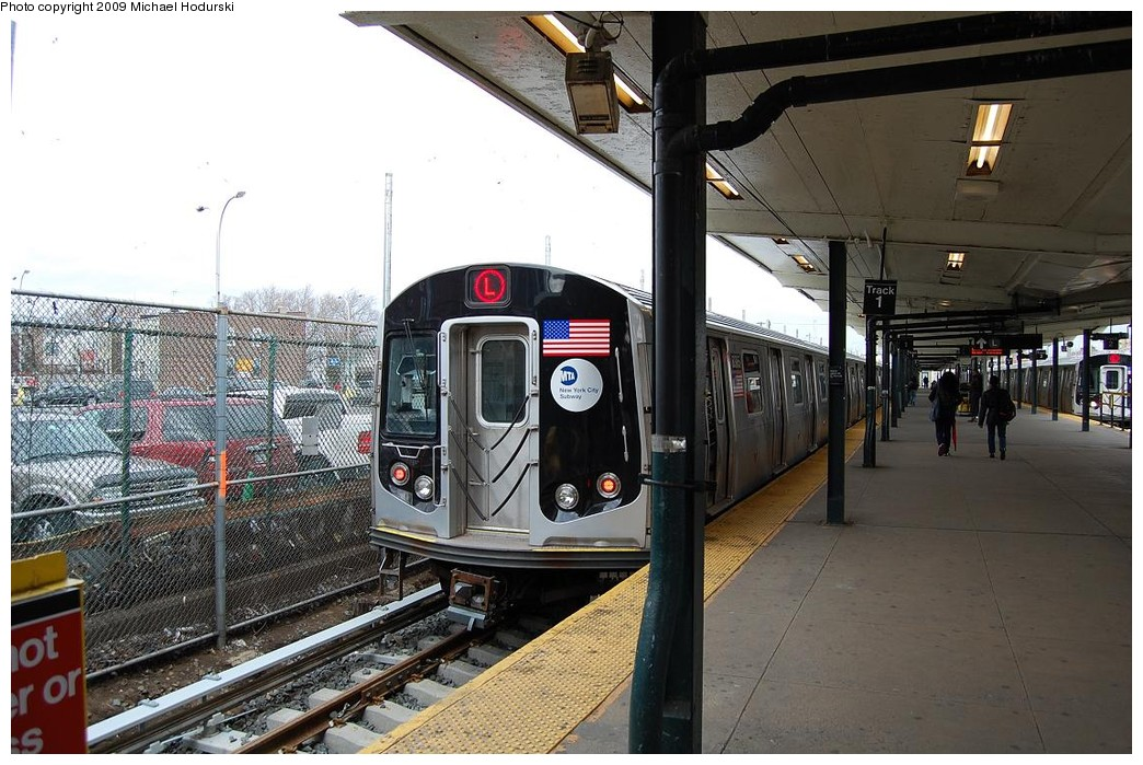 (250k, 1044x699)<br><b>Country:</b> United States<br><b>City:</b> New York<br><b>System:</b> New York City Transit<br><b>Line:</b> BMT Canarsie Line<br><b>Location:</b> Rockaway Parkway <br><b>Route:</b> L<br><b>Car:</b> R-160A-1 (Alstom, 2005-2008, 4 car sets)  8385 <br><b>Photo by:</b> Michael Hodurski<br><b>Date:</b> 4/3/2008<br><b>Viewed (this week/total):</b> 0 / 841
