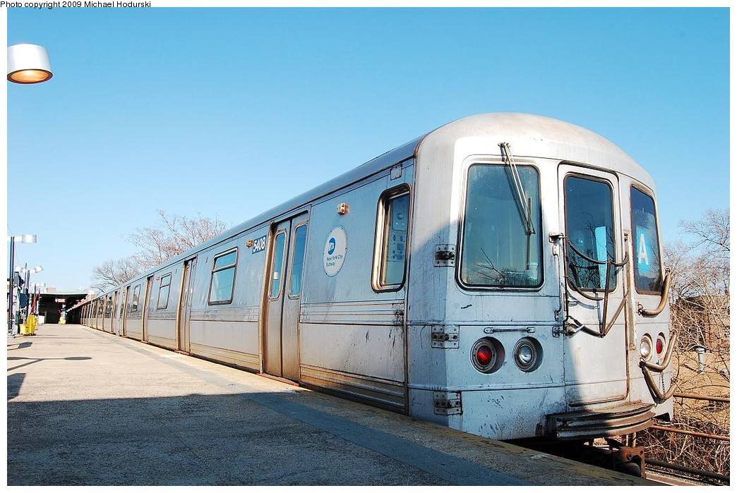 (241k, 1044x699)<br><b>Country:</b> United States<br><b>City:</b> New York<br><b>System:</b> New York City Transit<br><b>Line:</b> IND Rockaway<br><b>Location:</b> Mott Avenue/Far Rockaway <br><b>Route:</b> A<br><b>Car:</b> R-44 (St. Louis, 1971-73) 5408 <br><b>Photo by:</b> Michael Hodurski<br><b>Date:</b> 4/8/2008<br><b>Viewed (this week/total):</b> 1 / 612