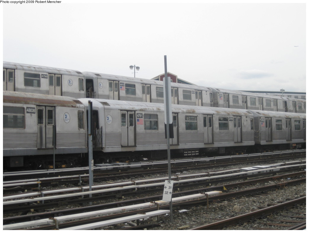 (169k, 1044x788)<br><b>Country:</b> United States<br><b>City:</b> New York<br><b>System:</b> New York City Transit<br><b>Location:</b> East New York Yard/Shops<br><b>Car:</b> R-42 (St. Louis, 1969-1970)  4798, 4813, 4808, 4791 <br><b>Photo by:</b> Robert Mencher<br><b>Date:</b> 10/14/2009<br><b>Viewed (this week/total):</b> 0 / 515