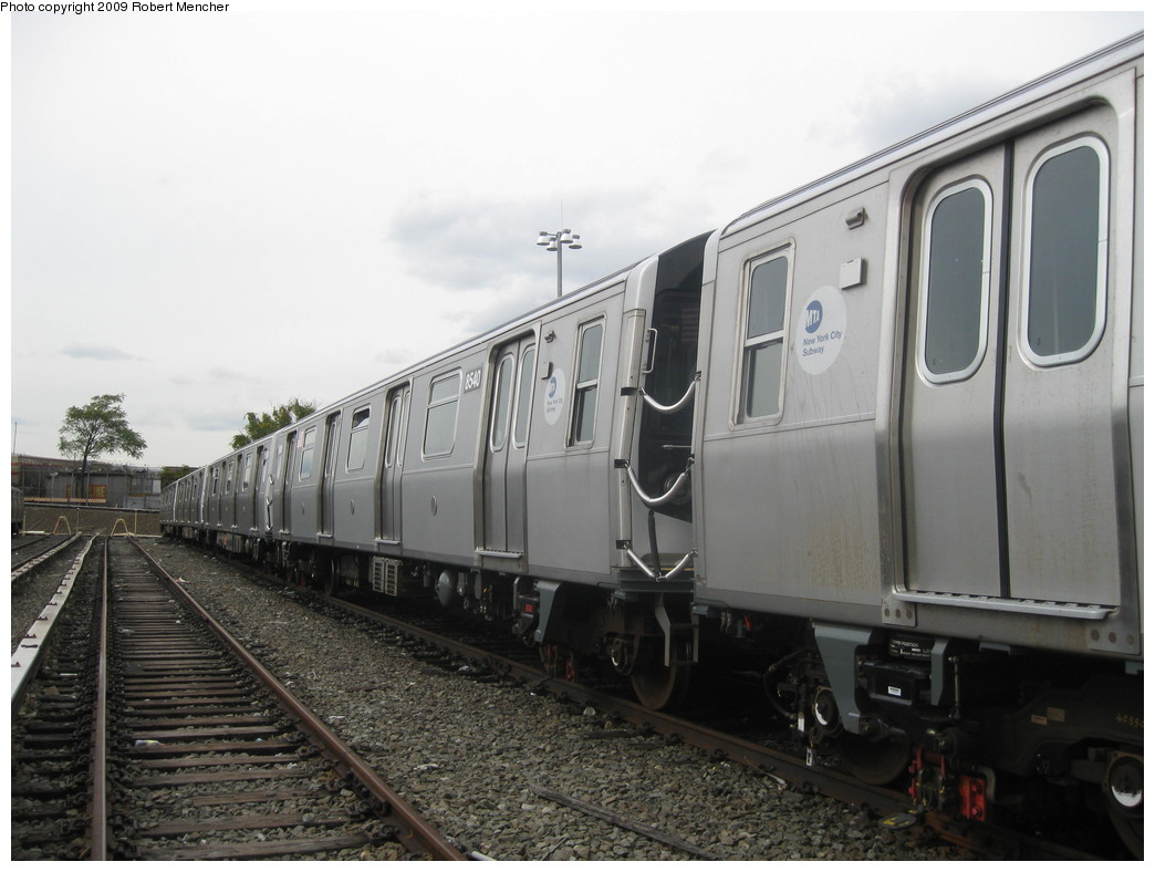 (182k, 1044x788)<br><b>Country:</b> United States<br><b>City:</b> New York<br><b>System:</b> New York City Transit<br><b>Location:</b> East New York Yard/Shops<br><b>Car:</b> R-160A-1 (Alstom, 2005-2008, 4 car sets)  8540 <br><b>Photo by:</b> Robert Mencher<br><b>Date:</b> 10/14/2009<br><b>Viewed (this week/total):</b> 0 / 329