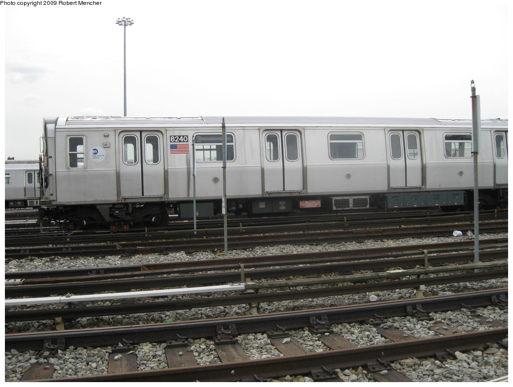 (192k, 1044x788)<br><b>Country:</b> United States<br><b>City:</b> New York<br><b>System:</b> New York City Transit<br><b>Location:</b> East New York Yard/Shops<br><b>Car:</b> R-143 (Kawasaki, 2001-2002) 8240 <br><b>Photo by:</b> Robert Mencher<br><b>Date:</b> 10/14/2009<br><b>Viewed (this week/total):</b> 0 / 360