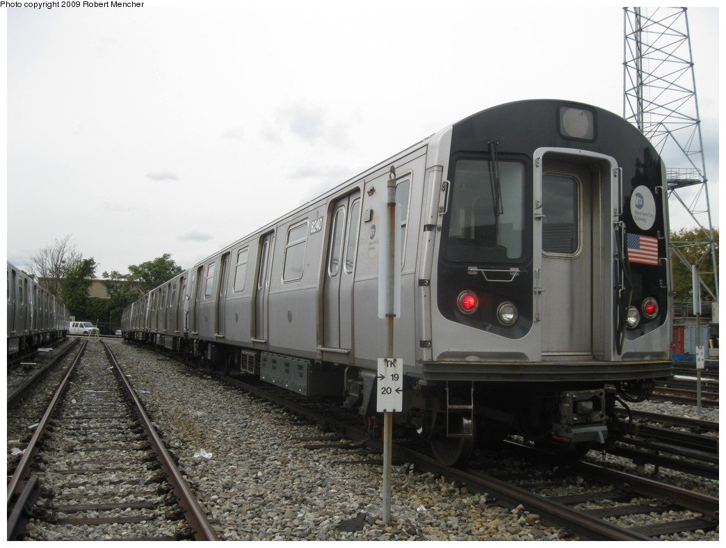 (203k, 1044x788)<br><b>Country:</b> United States<br><b>City:</b> New York<br><b>System:</b> New York City Transit<br><b>Location:</b> East New York Yard/Shops<br><b>Car:</b> R-143 (Kawasaki, 2001-2002) 8240 <br><b>Photo by:</b> Robert Mencher<br><b>Date:</b> 10/14/2009<br><b>Viewed (this week/total):</b> 4 / 616