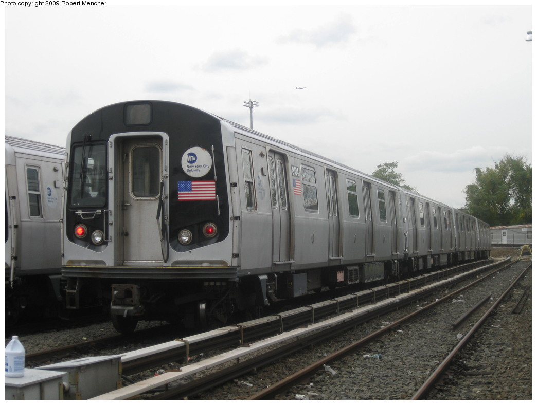 (164k, 1044x788)<br><b>Country:</b> United States<br><b>City:</b> New York<br><b>System:</b> New York City Transit<br><b>Location:</b> East New York Yard/Shops<br><b>Car:</b> R-143 (Kawasaki, 2001-2002) 8104 <br><b>Photo by:</b> Robert Mencher<br><b>Date:</b> 10/14/2009<br><b>Viewed (this week/total):</b> 0 / 568
