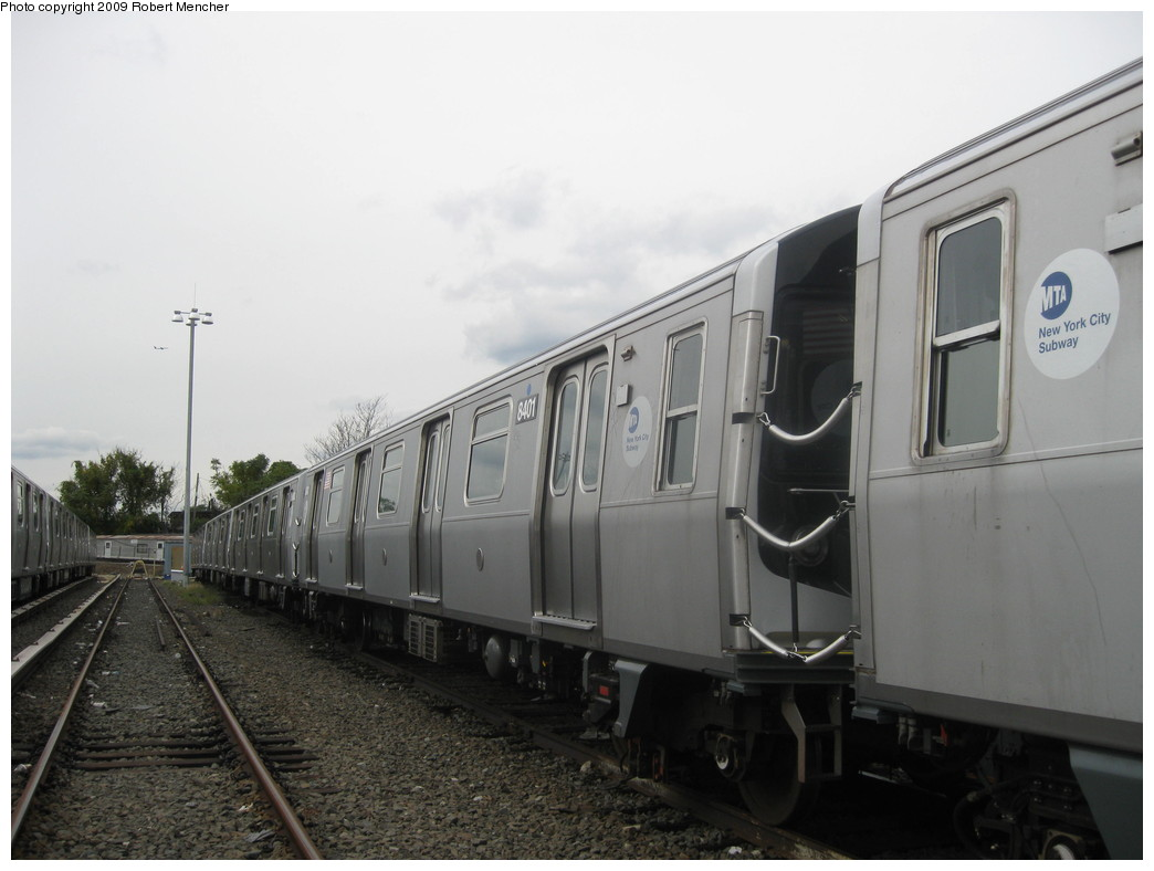 (157k, 1044x788)<br><b>Country:</b> United States<br><b>City:</b> New York<br><b>System:</b> New York City Transit<br><b>Location:</b> East New York Yard/Shops<br><b>Car:</b> R-160A-1 (Alstom, 2005-2008, 4 car sets)  8401 <br><b>Photo by:</b> Robert Mencher<br><b>Date:</b> 10/14/2009<br><b>Viewed (this week/total):</b> 3 / 520