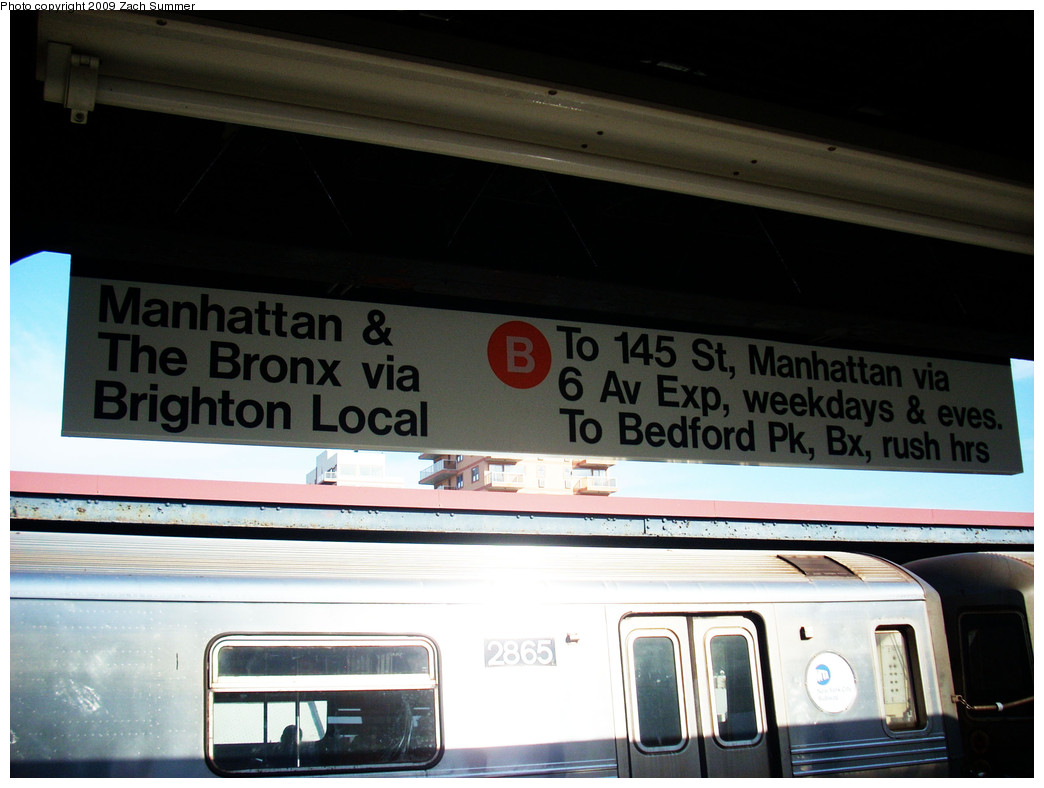 (211k, 1044x788)<br><b>Country:</b> United States<br><b>City:</b> New York<br><b>System:</b> New York City Transit<br><b>Line:</b> BMT Brighton Line<br><b>Location:</b> Brighton Beach <br><b>Photo by:</b> Zach Summer<br><b>Date:</b> 10/22/2009<br><b>Notes:</b> New Temporary B Train destination sign depicting Brighton Local Service.<br><b>Viewed (this week/total):</b> 0 / 871