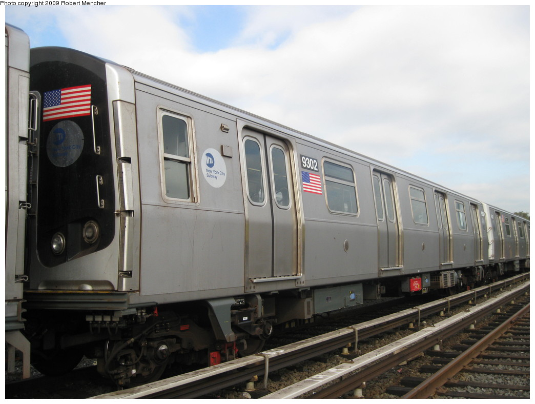 (175k, 1044x788)<br><b>Country:</b> United States<br><b>City:</b> New York<br><b>System:</b> New York City Transit<br><b>Location:</b> Jamaica Yard/Shops<br><b>Car:</b> R-160A (Option 1) (Alstom, 2008-2009, 5 car sets)  9302 <br><b>Photo by:</b> Robert Mencher<br><b>Date:</b> 11/3/2009<br><b>Viewed (this week/total):</b> 2 / 747