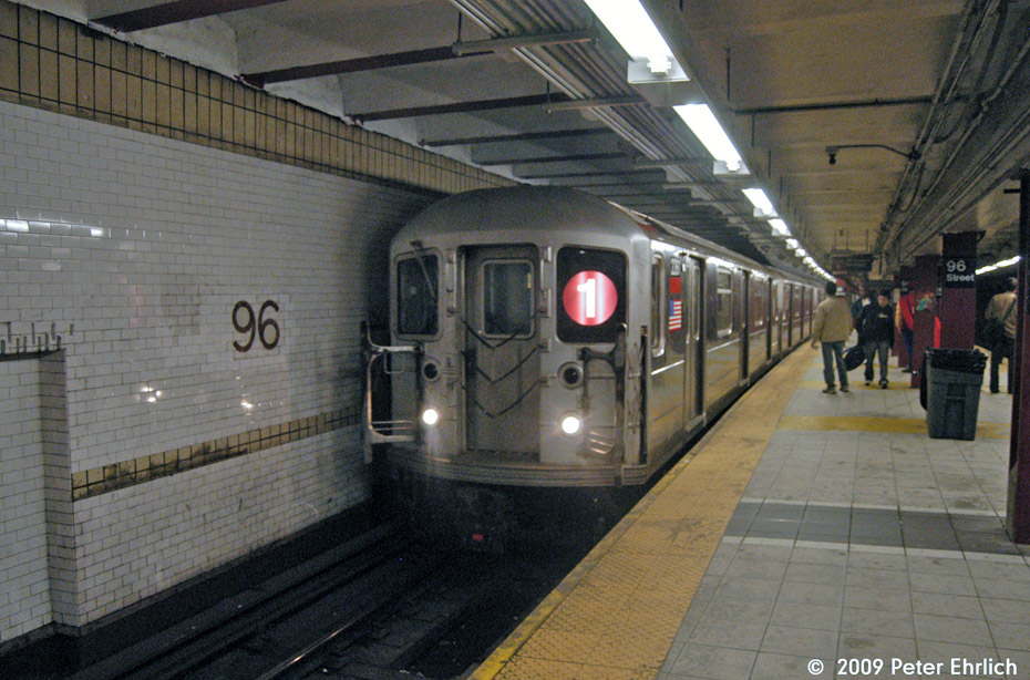 (216k, 930x614)<br><b>Country:</b> United States<br><b>City:</b> New York<br><b>System:</b> New York City Transit<br><b>Line:</b> IRT West Side Line<br><b>Location:</b> 96th Street <br><b>Route:</b> 1<br><b>Car:</b> R-62A (Bombardier, 1984-1987)  2261 <br><b>Photo by:</b> Peter Ehrlich<br><b>Date:</b> 10/30/2009<br><b>Notes:</b> Southbound.<br><b>Viewed (this week/total):</b> 0 / 1262
