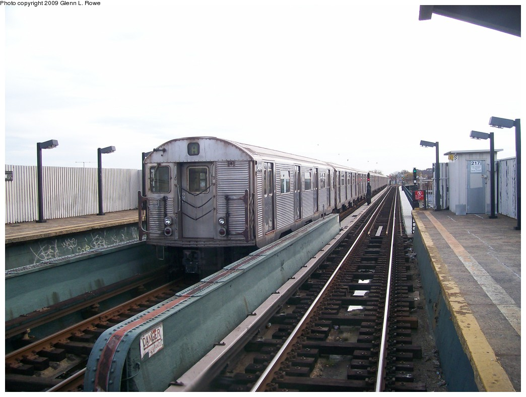 (179k, 1044x788)<br><b>Country:</b> United States<br><b>City:</b> New York<br><b>System:</b> New York City Transit<br><b>Line:</b> IND Fulton Street Line<br><b>Location:</b> 111th Street/Greenwood Avenue <br><b>Route:</b> A<br><b>Car:</b> R-32 (Budd, 1964)  3494 <br><b>Photo by:</b> Glenn L. Rowe<br><b>Date:</b> 11/2/2009<br><b>Viewed (this week/total):</b> 4 / 671