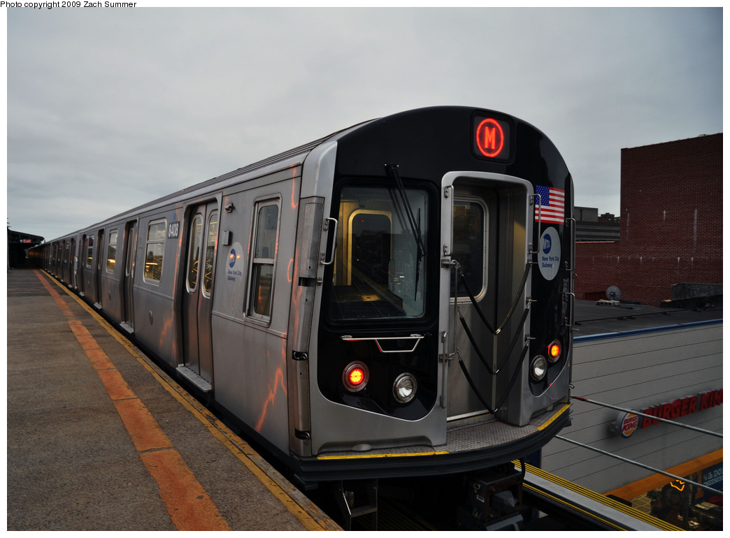 (205k, 1044x770)<br><b>Country:</b> United States<br><b>City:</b> New York<br><b>System:</b> New York City Transit<br><b>Line:</b> BMT West End Line<br><b>Location:</b> Bay Parkway <br><b>Route:</b> M<br><b>Car:</b> R-160A-1 (Alstom, 2005-2008, 4 car sets)  8408 <br><b>Photo by:</b> Zach Summer<br><b>Date:</b> 10/23/2009<br><b>Viewed (this week/total):</b> 2 / 608