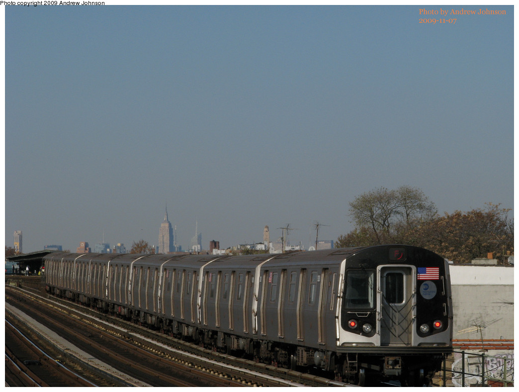 (188k, 1044x788)<br><b>Country:</b> United States<br><b>City:</b> New York<br><b>System:</b> New York City Transit<br><b>Line:</b> BMT Culver Line<br><b>Location:</b> Bay Parkway (22nd Avenue) <br><b>Route:</b> F<br><b>Car:</b> R-160B (Option 1) (Kawasaki, 2008-2009)  9228 <br><b>Photo by:</b> Andrew Johnson<br><b>Date:</b> 11/7/2009<br><b>Viewed (this week/total):</b> 0 / 637
