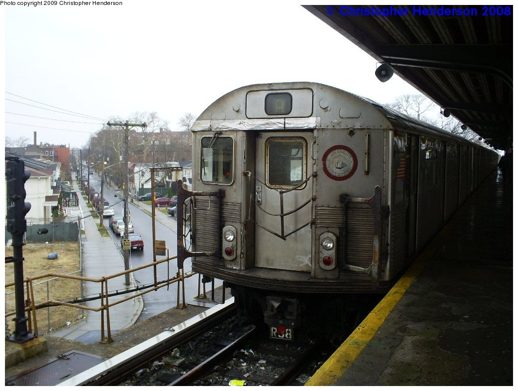 (203k, 1044x788)<br><b>Country:</b> United States<br><b>City:</b> New York<br><b>System:</b> New York City Transit<br><b>Line:</b> IND Rockaway<br><b>Location:</b> Mott Avenue/Far Rockaway <br><b>Route:</b> A<br><b>Car:</b> R-38 (St. Louis, 1966-1967)  4063 <br><b>Photo by:</b> Christopher Henderson<br><b>Date:</b> 12/10/2008<br><b>Viewed (this week/total):</b> 0 / 456