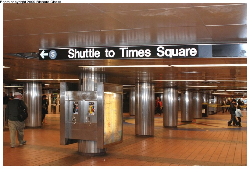 (121k, 820x556)<br><b>Country:</b> United States<br><b>City:</b> New York<br><b>System:</b> New York City Transit<br><b>Line:</b> IRT East Side Line<br><b>Location:</b> Grand Central <br><b>Photo by:</b> Richard Chase<br><b>Date:</b> 10/29/2009<br><b>Notes:</b> Sign for shuttle in 4-5-6 mezzanine.<br><b>Viewed (this week/total):</b> 2 / 713