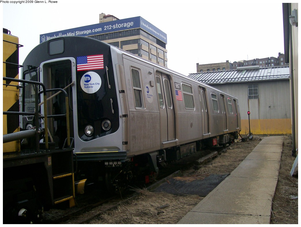 (197k, 1044x788)<br><b>Country:</b> United States<br><b>City:</b> New York<br><b>System:</b> New York City Transit<br><b>Location:</b> 207th Street Yard<br><b>Car:</b> R-160B (Option 2) (Kawasaki, 2009)  9867 <br><b>Photo by:</b> Glenn L. Rowe<br><b>Date:</b> 11/12/2009<br><b>Viewed (this week/total):</b> 2 / 1336