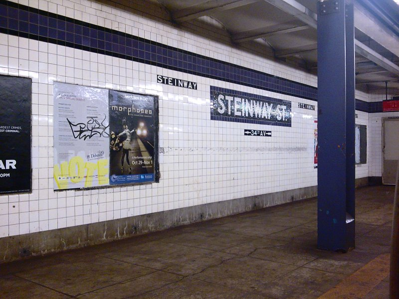 (114k, 800x600)<br><b>Country:</b> United States<br><b>City:</b> New York<br><b>System:</b> New York City Transit<br><b>Line:</b> IND Queens Boulevard Line<br><b>Location:</b> Steinway Street <br><b>Photo by:</b> Bill E.<br><b>Date:</b> 10/31/2009<br><b>Notes:</b> Platform/mosaic<br><b>Viewed (this week/total):</b> 1 / 881