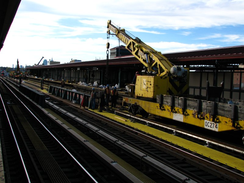 (109k, 800x600)<br><b>Country:</b> United States<br><b>City:</b> New York<br><b>System:</b> New York City Transit<br><b>Line:</b> IRT Flushing Line<br><b>Location:</b> 74th Street/Broadway <br><b>Route:</b> Work Service<br><b>Car:</b> R-102 Crane Car  274 <br><b>Photo by:</b> Bill E.<br><b>Date:</b> 10/25/2009<br><b>Viewed (this week/total):</b> 0 / 365