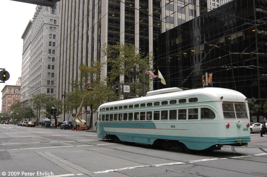 (201k, 930x618)<br><b>Country:</b> United States<br><b>City:</b> San Francisco/Bay Area, CA<br><b>System:</b> SF MUNI<br><b>Location:</b> Market/Fremont <br><b>Car:</b> SF MUNI PCC (Ex-NJTransit, Ex-Twin City) (St. Louis Car Co., 1946-1947)  1076 <br><b>Photo by:</b> Peter Ehrlich<br><b>Date:</b> 11/5/2009<br><b>Notes:</b> Inbound.<br><b>Viewed (this week/total):</b> 0 / 291