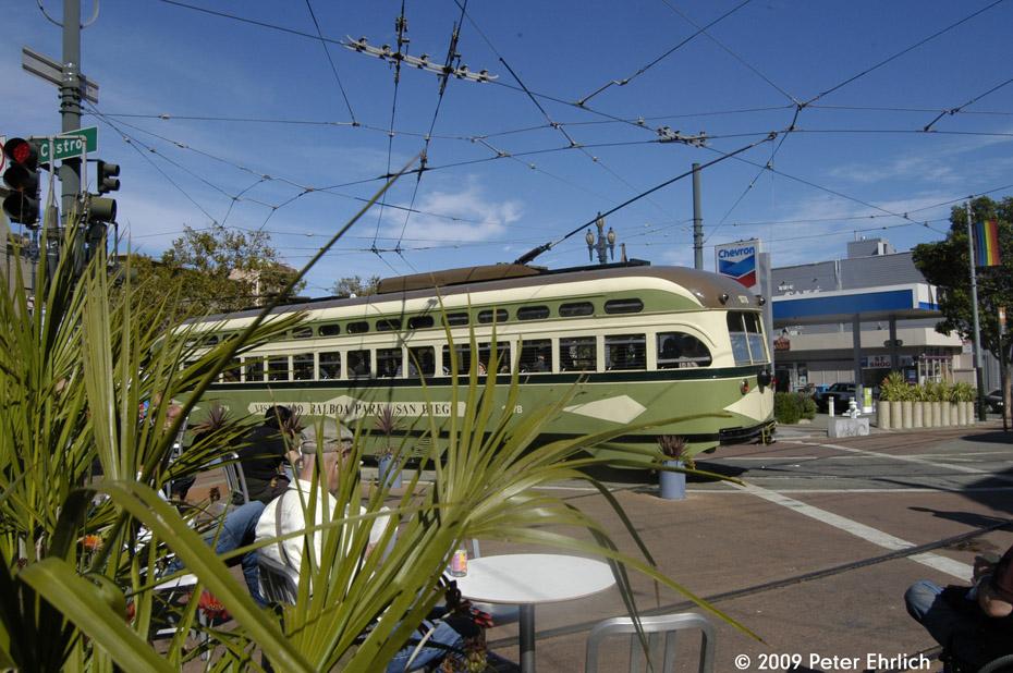 (234k, 930x618)<br><b>Country:</b> United States<br><b>City:</b> San Francisco/Bay Area, CA<br><b>System:</b> SF MUNI<br><b>Location:</b> Market/17th/Castro <br><b>Car:</b> SF MUNI PCC (Ex-NJTransit, Ex-Twin City) (St. Louis Car Co., 1946-1947)  1078 <br><b>Photo by:</b> Peter Ehrlich<br><b>Date:</b> 10/17/2009<br><b>Notes:</b> Leaving 17th Street/Castro Terminal.<br><b>Viewed (this week/total):</b> 0 / 257