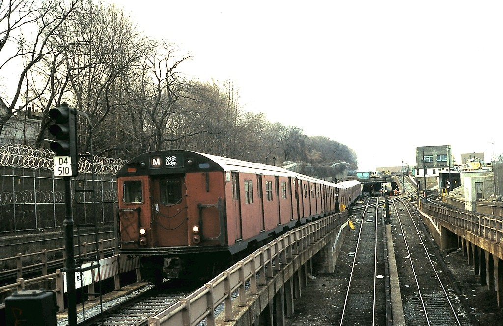 (234k, 1024x664)<br><b>Country:</b> United States<br><b>City:</b> New York<br><b>System:</b> New York City Transit<br><b>Line:</b> BMT West End Line<br><b>Location:</b> 9th Avenue <br><b>Route:</b> M<br><b>Car:</b> R-30 (St. Louis, 1961) 8308 <br><b>Collection of:</b> John Barnes<br><b>Date:</b> 2/9/1988<br><b>Viewed (this week/total):</b> 1 / 2111