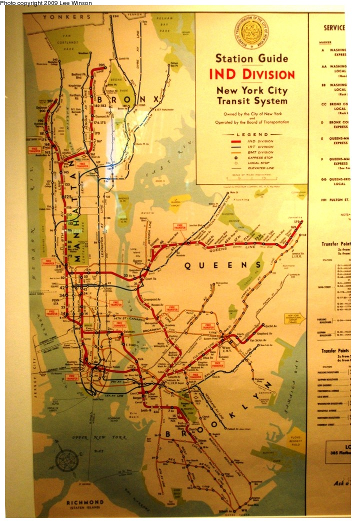 (263k, 712x1044)<br><b>Country:</b> United States<br><b>City:</b> New York<br><b>System:</b> New York City Transit<br><b>Location:</b> New York Transit Museum<br><b>Photo by:</b> Lee Winson<br><b>Date:</b> 10/11/2009<br><b>Notes:</b> Old subway map on display at Transit Museum annex (circa 1950?) Shows free transfers, some elevated lines, Canarsie trolley.<br><b>Viewed (this week/total):</b> 1 / 1337