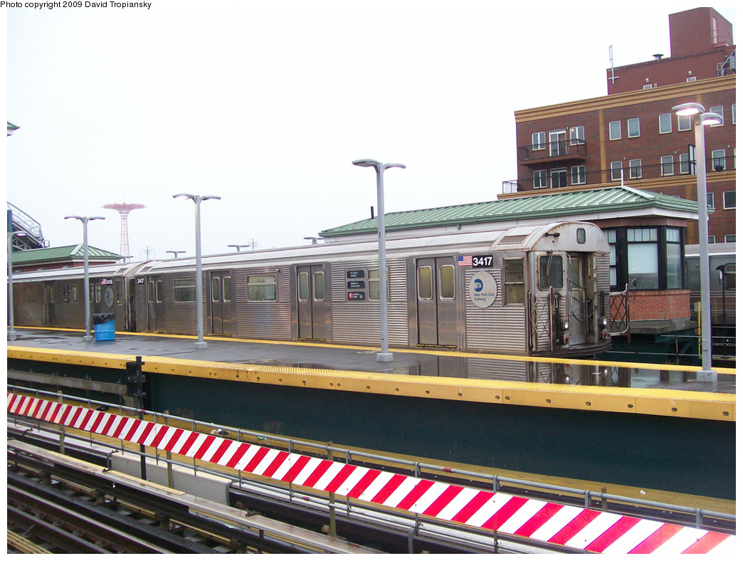 (292k, 1044x788)<br><b>Country:</b> United States<br><b>City:</b> New York<br><b>System:</b> New York City Transit<br><b>Location:</b> Coney Island/Stillwell Avenue<br><b>Route:</b> F<br><b>Car:</b> R-32 (Budd, 1964)  3417 <br><b>Photo by:</b> David Tropiansky<br><b>Date:</b> 9/6/2008<br><b>Viewed (this week/total):</b> 2 / 435