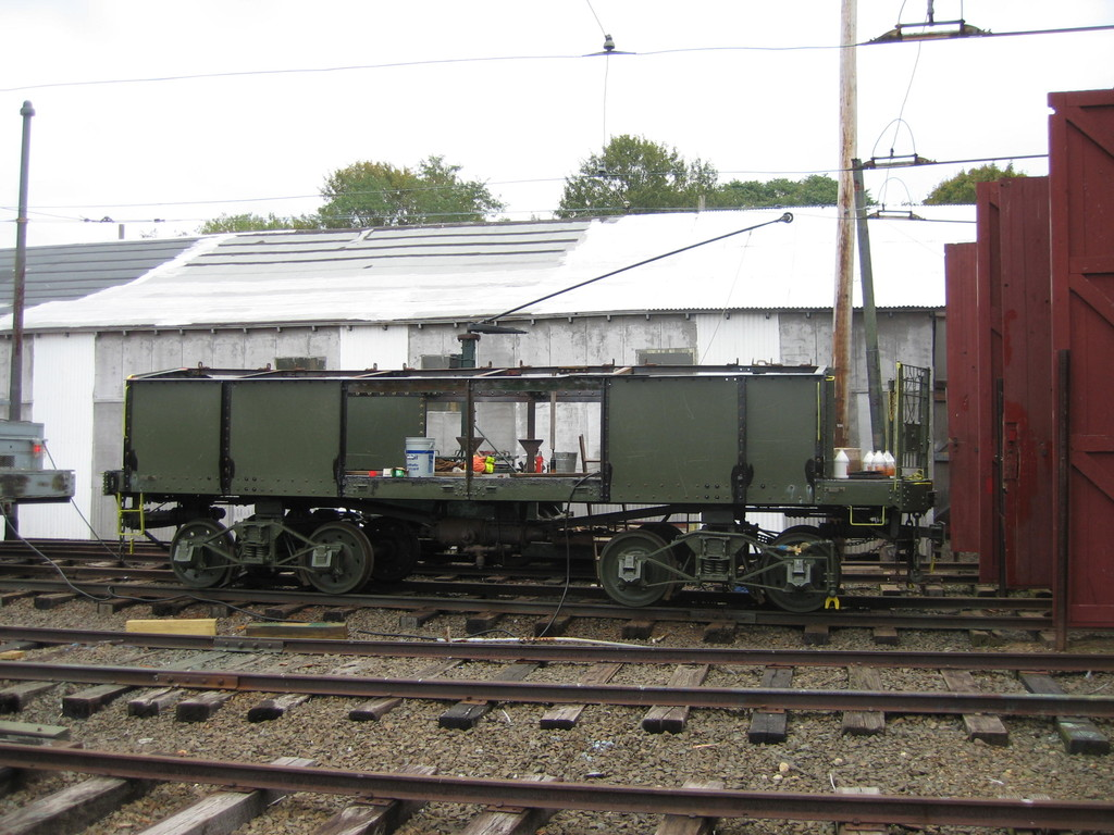(226k, 1024x768)<br><b>Country:</b> United States<br><b>City:</b> East Haven/Branford, Ct.<br><b>System:</b> Shore Line Trolley Museum <br><b>Car:</b> IRT Covered Hopper 95 <br><b>Photo by:</b> Frank Pfuhler<br><b>Date:</b> 10/20/2009<br><b>Notes:</b> Being restored at Shore Line Trolley Museum<br><b>Viewed (this week/total):</b> 0 / 186