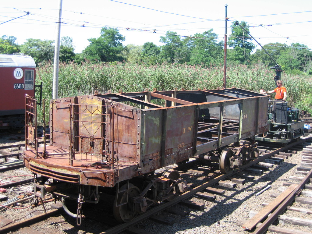 (339k, 1024x768)<br><b>Country:</b> United States<br><b>City:</b> East Haven/Branford, Ct.<br><b>System:</b> Shore Line Trolley Museum <br><b>Car:</b> IRT Covered Hopper 95 <br><b>Photo by:</b> Frank Pfuhler<br><b>Date:</b> 9/1/2009<br><b>Notes:</b> Being restored at Shore Line Trolley Museum<br><b>Viewed (this week/total):</b> 2 / 539
