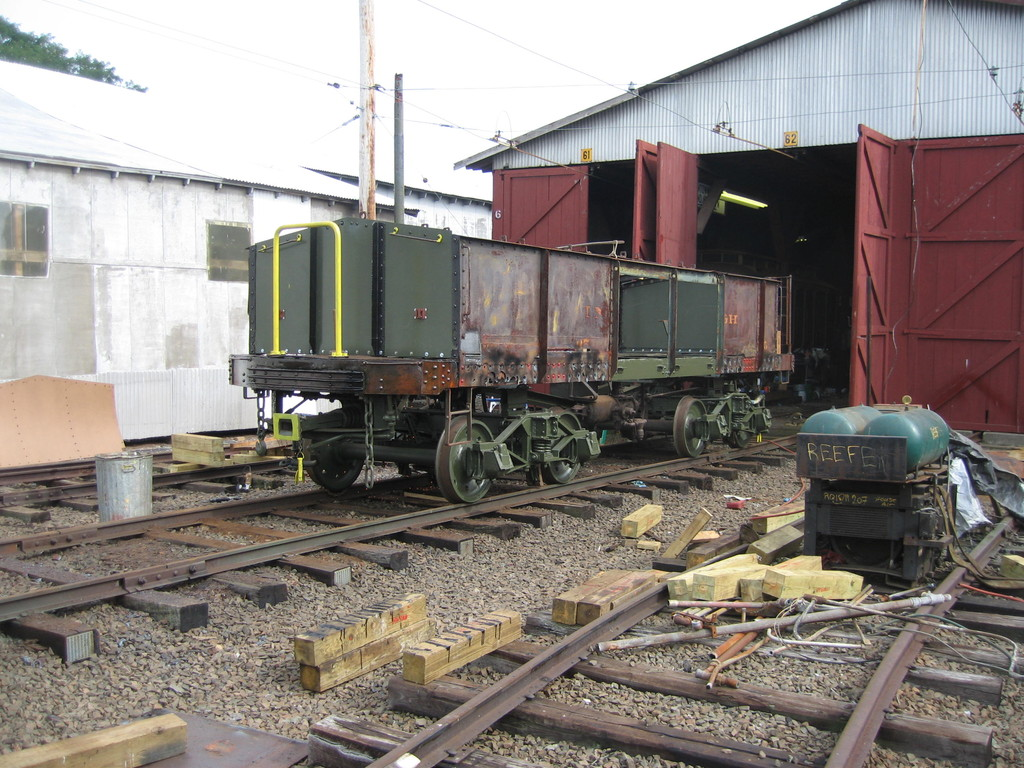 (267k, 1024x768)<br><b>Country:</b> United States<br><b>City:</b> East Haven/Branford, Ct.<br><b>System:</b> Shore Line Trolley Museum <br><b>Car:</b> IRT Covered Hopper 95 <br><b>Photo by:</b> Frank Pfuhler<br><b>Date:</b> 9/8/2009<br><b>Notes:</b> Being restored at Shore Line Trolley Museum<br><b>Viewed (this week/total):</b> 1 / 248