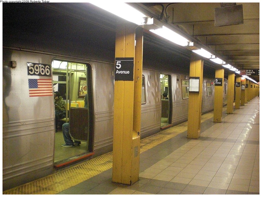 (309k, 1044x788)<br><b>Country:</b> United States<br><b>City:</b> New York<br><b>System:</b> New York City Transit<br><b>Line:</b> BMT Broadway Line<br><b>Location:</b> 5th Avenue <br><b>Route:</b> R<br><b>Car:</b> R-46 (Pullman-Standard, 1974-75) 5966 <br><b>Photo by:</b> Roberto C. Tobar<br><b>Date:</b> 10/23/2009<br><b>Viewed (this week/total):</b> 1 / 959