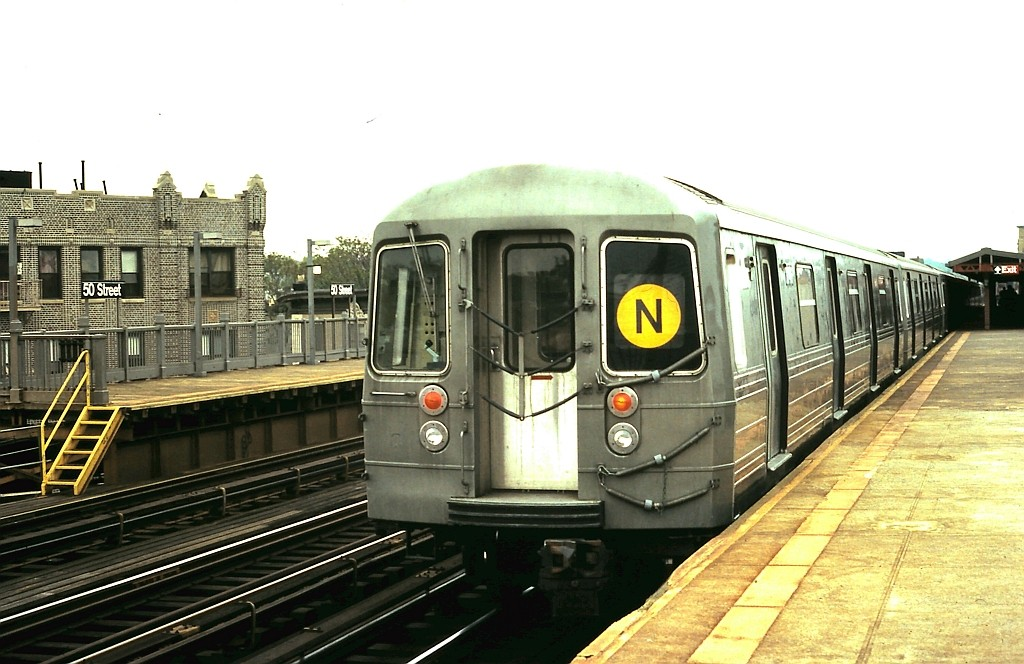 (179k, 1024x664)<br><b>Country:</b> United States<br><b>City:</b> New York<br><b>System:</b> New York City Transit<br><b>Line:</b> BMT West End Line<br><b>Location:</b> 50th Street <br><b>Route:</b> N reroute<br><b>Car:</b> R-68 (Westinghouse-Amrail, 1986-1988)   <br><b>Collection of:</b> John Barnes<br><b>Date:</b> 5/21/1988<br><b>Viewed (this week/total):</b> 2 / 2001