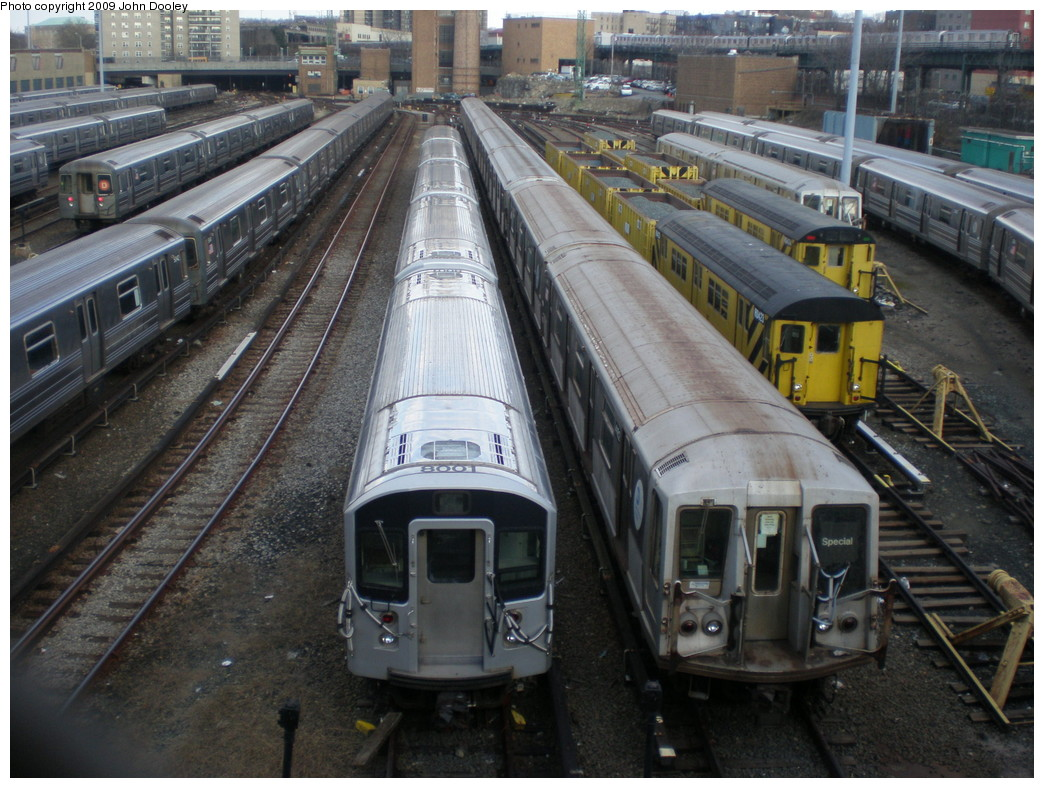 (262k, 1044x788)<br><b>Country:</b> United States<br><b>City:</b> New York<br><b>System:</b> New York City Transit<br><b>Location:</b> Concourse Yard<br><b>Car:</b> R-110A (Kawasaki, 1992) 8001 <br><b>Photo by:</b> John Dooley<br><b>Date:</b> 12/11/2009<br><b>Notes:</b> With R40 4162<br><b>Viewed (this week/total):</b> 1 / 1987
