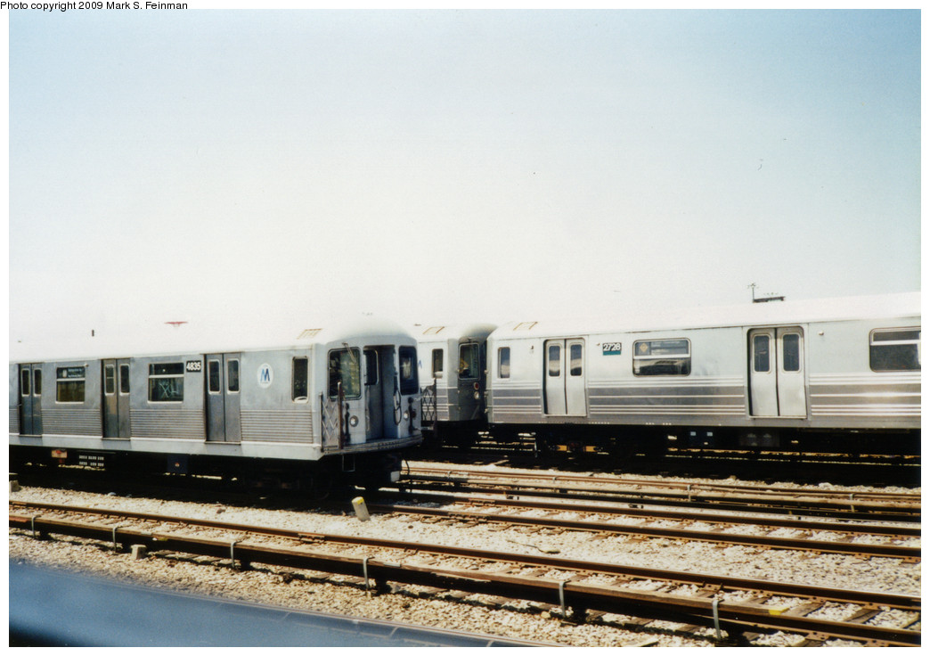 (204k, 1044x736)<br><b>Country:</b> United States<br><b>City:</b> New York<br><b>System:</b> New York City Transit<br><b>Location:</b> Coney Island Yard<br><b>Car:</b> R-42 (St. Louis, 1969-1970)  4835 <br><b>Photo by:</b> Mark S. Feinman<br><b>Date:</b> 5/30/1993<br><b>Viewed (this week/total):</b> 4 / 504